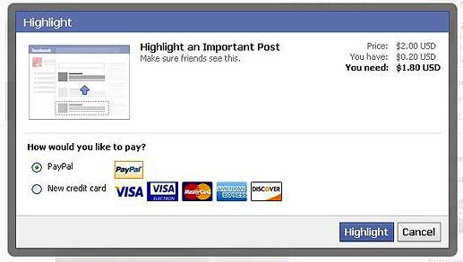 «Фейсбук» тестирует платное выделение постов