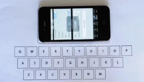 «Виртуальная» клавиатура для iPhone из листа бумаги, стола и приложения