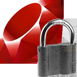Логотип Ruby и суровый ГОСТовый навесной замок