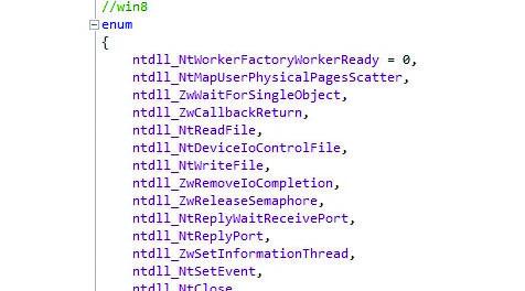 Рис. 2. Нумерация идентификаторов (ID) SYSCALL в Windows 8