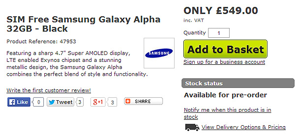 Британский сайт поспешил начать прием заказов на смартфон Samsung Galaxy Alpha