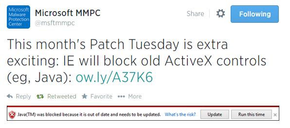 Internet Explorer будет блокировать устаревшие элементы управления ActiveX