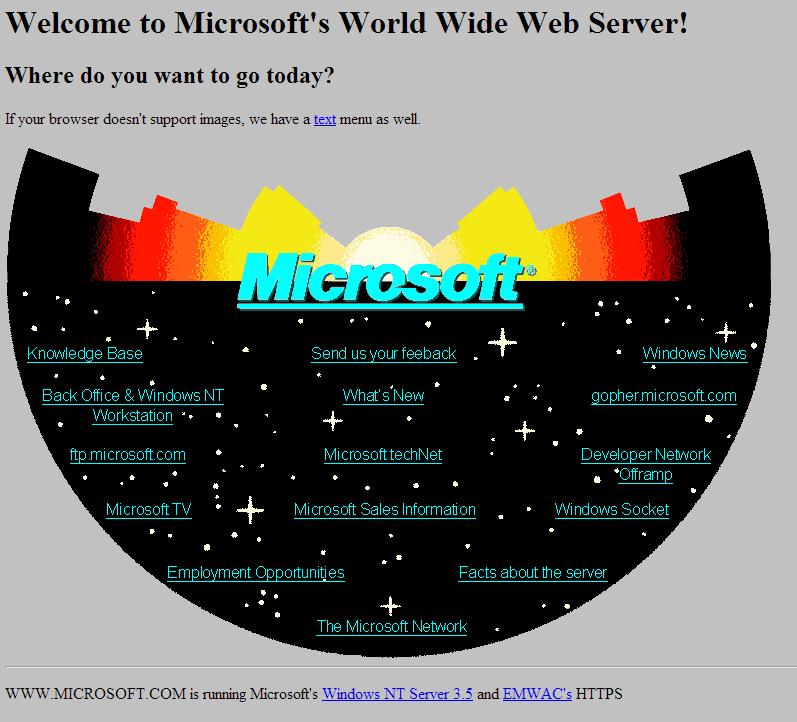 Microsoft воссоздала веб сайт 1994 года