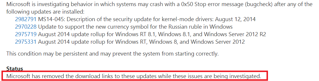Microsoft советует воздержаться от установки обновления MS14 045