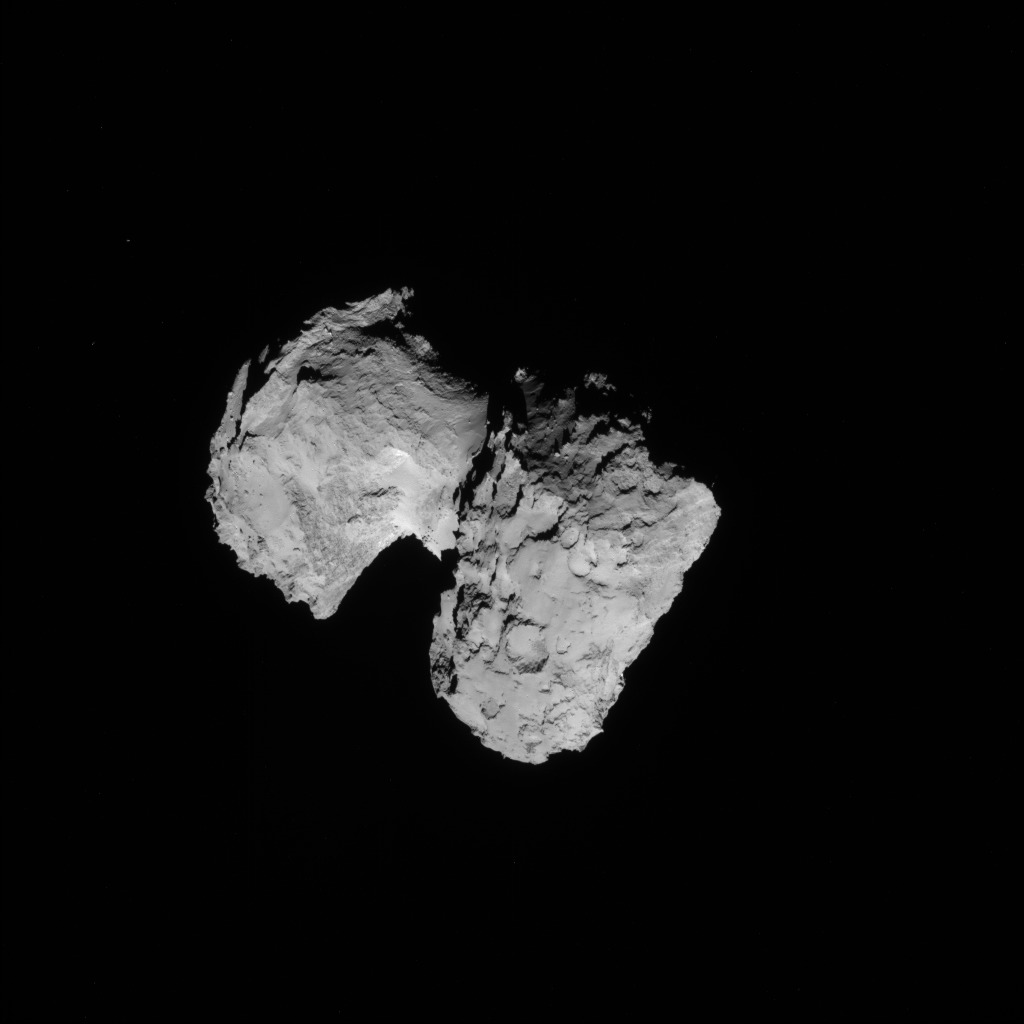 Full-frame NAVCAM image taken on 16 August 2014 from a distance of about 93.5 km from comet 67P/Churyumov-Gerasimenko. Credits: ESA/Rosetta/NAVCAM