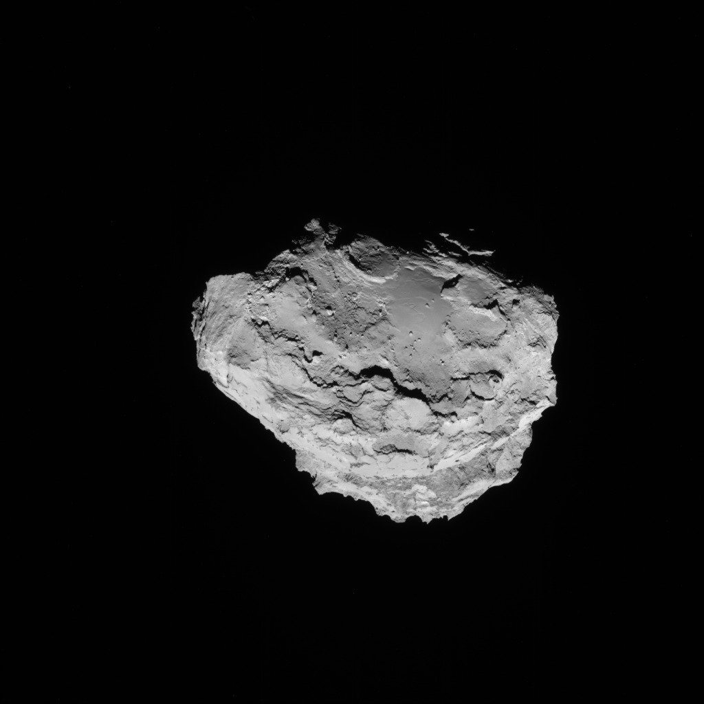 Full-frame NAVCAM image taken on 15 August 2014 from a distance of about 91 km from comet 67P/Churyumov-Gerasimenko. Credits: ESA/Rosetta/NAVCAM