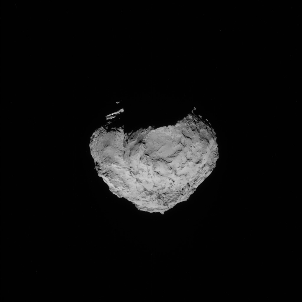 Full-frame NAVCAM image taken on 14 August 2014 from a distance of about 100 km from comet 67P/Churyumov-Gerasimenko. Credits: ESA/Rosetta/NAVCAM