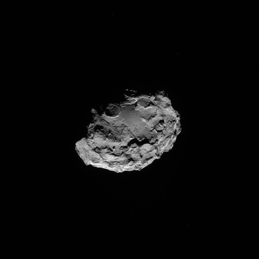 Full-frame NAVCAM image taken on 13 August 2014 from a distance of about 115 km from comet 67P/Churyumov-Gerasimenko. Credits: ESA/Rosetta/NAVCAM
