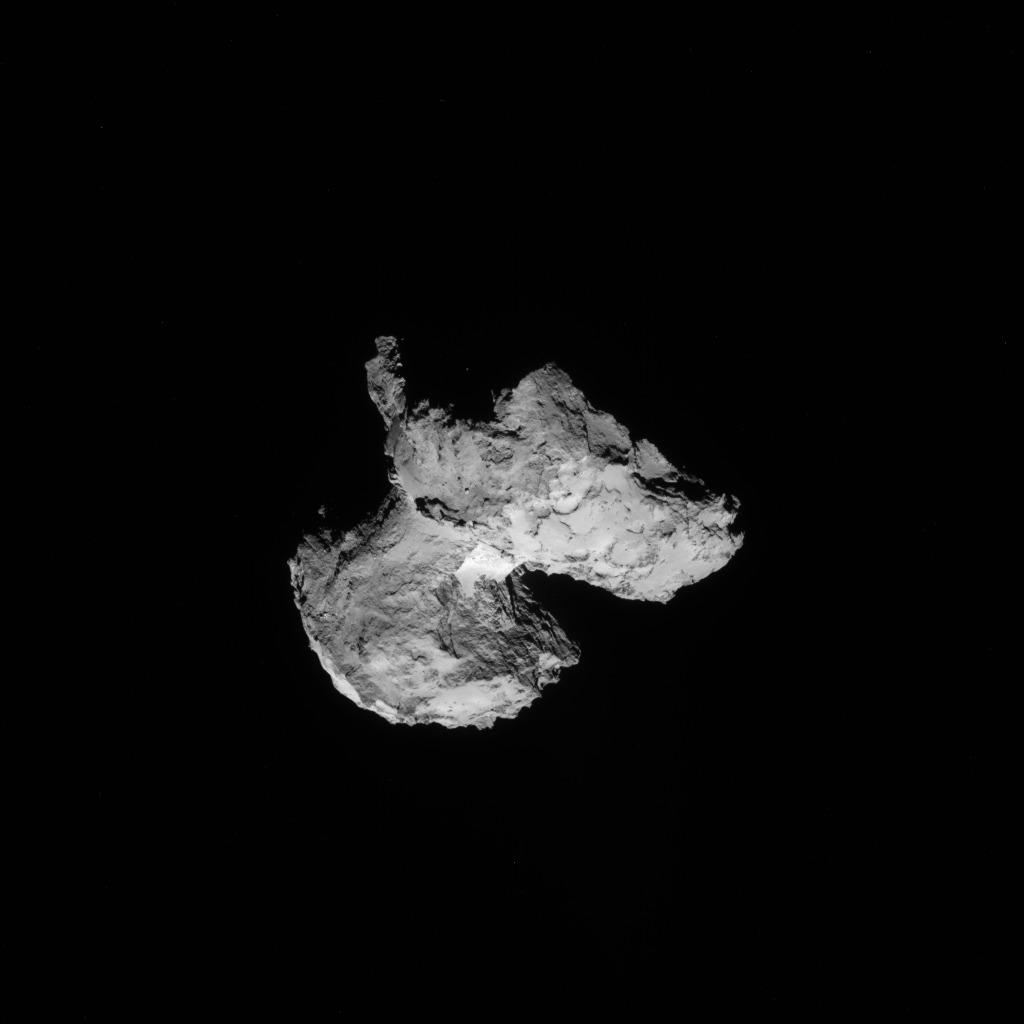 Full-frame NAVCAM image taken on 12 August 2014 from a distance of about 103 km from comet 67P/Churyumov-Gerasimenko. Credits: ESA/Rosetta/NAVCAM