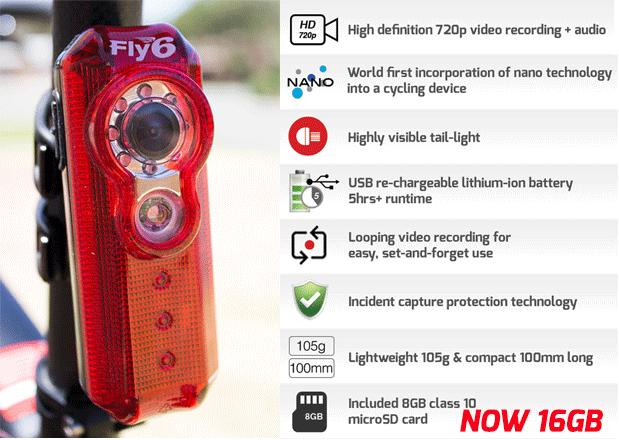 Fly6: HD видеорегистратор и светодиодный фонарь для велосипеда в одном корпусе