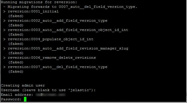 Infobox Jelastic Python Django CMS admin credentials