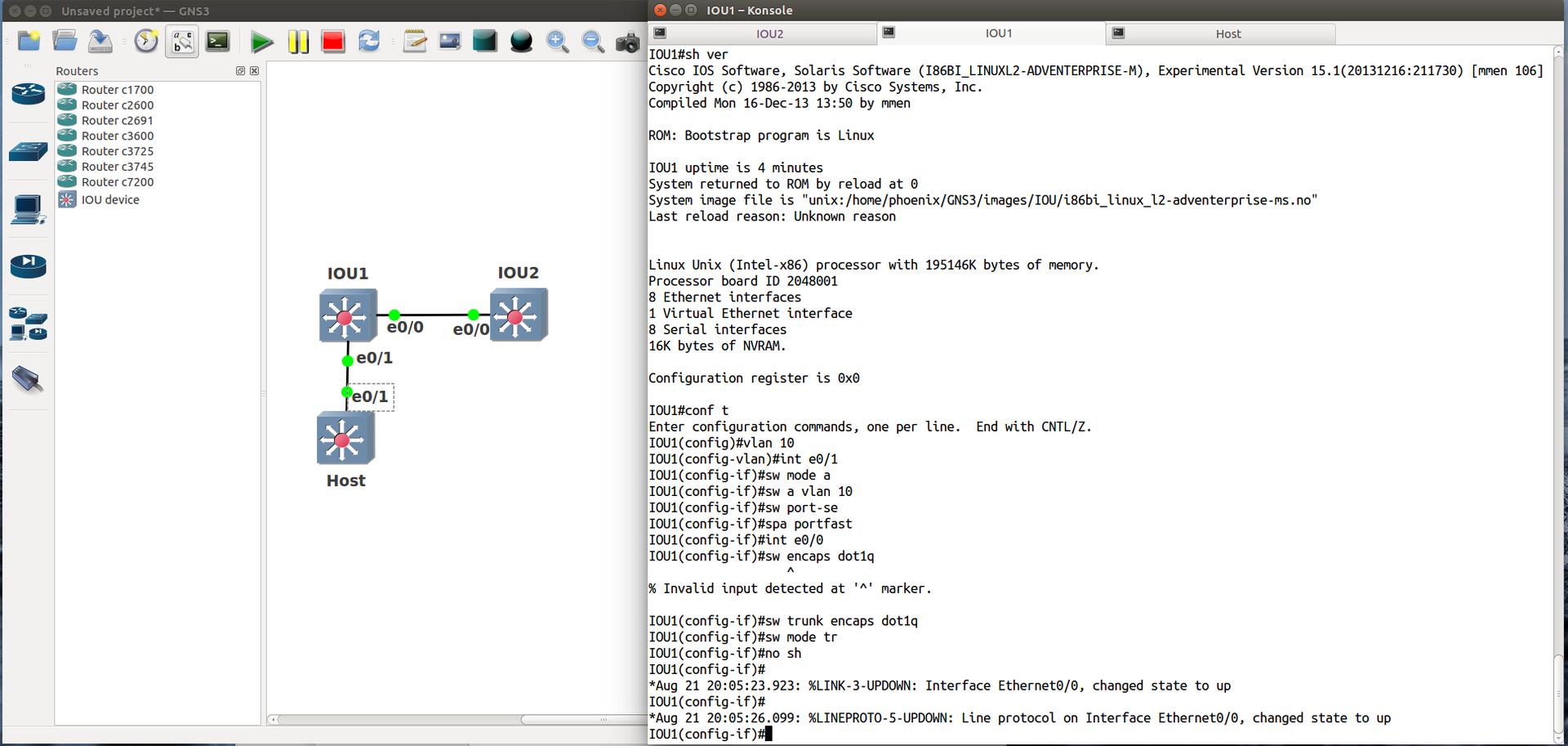 GNS3 1.0 beta и Cisco IOU