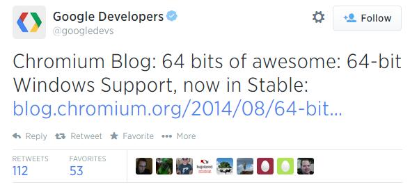 64 битный Chrome вышел в релиз