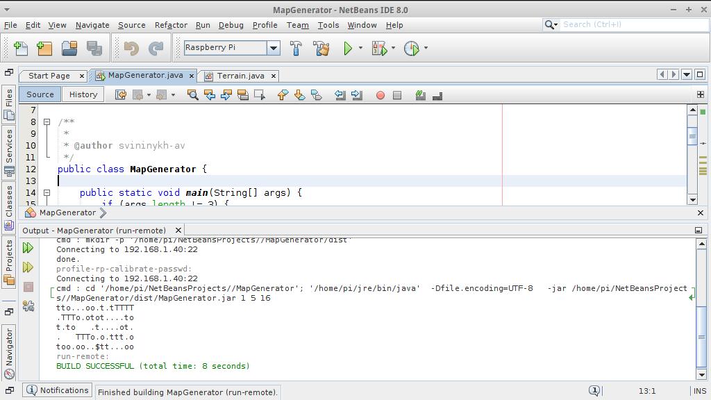 Интеграция Raspberry Pi с NetBeans 8.0