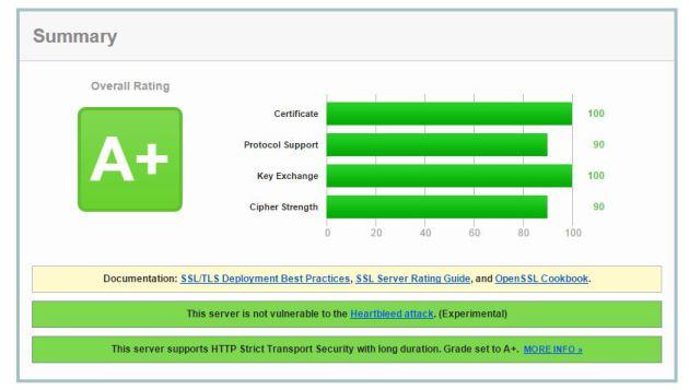 Оценка 95 (A+) от SSL Labs