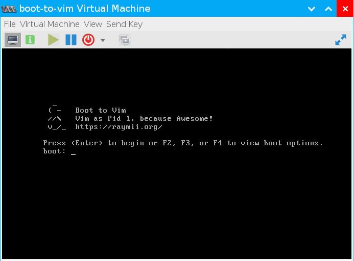 Boot to Vim (окно загрузки)