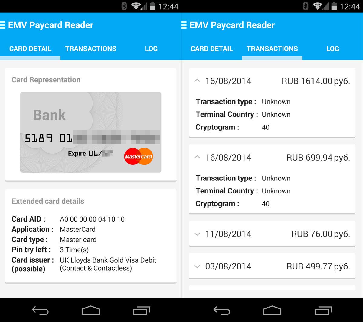 Приложение для Android позволяет читать список последних транзакций с банковских карт PayPass и payWave