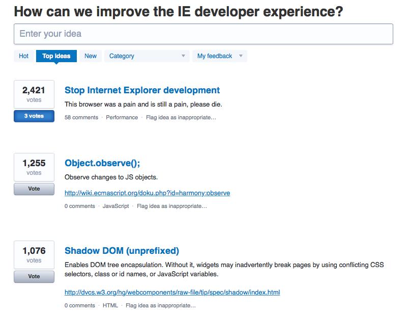 Microsoft собирают пожелания для усовершенствования Internet Explorer
