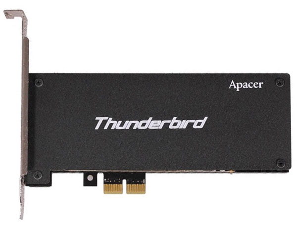 Твердотельный накопитель Apacer Thunderbird PT910 с интерфейсом PCIe 2.0 x2 развивает в режиме записи скорость 790 МБ/с