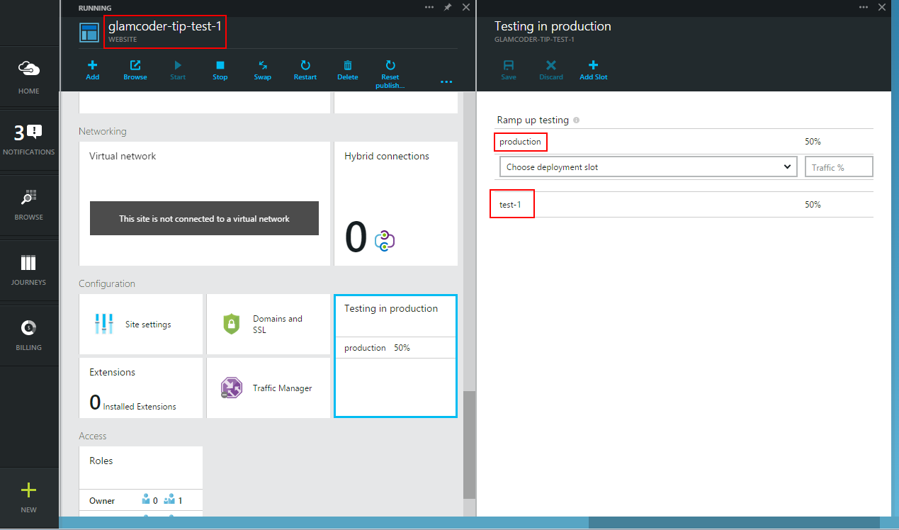 Azure Website Testing in Production