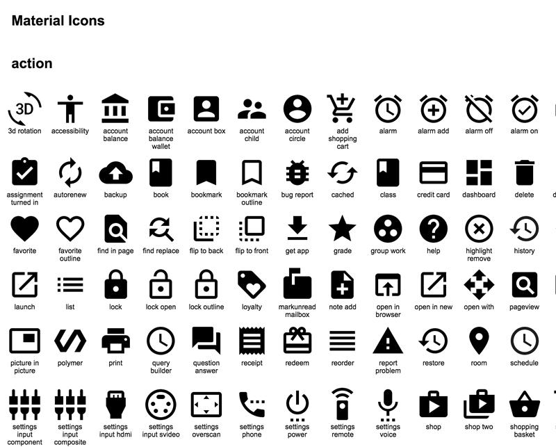 Набор иконок Material Design от Google
