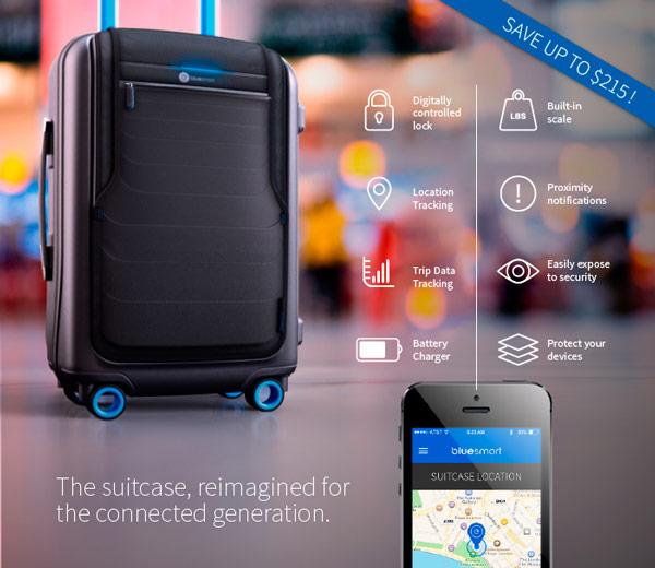 Чемодан Bluesmart оснащен электронным замком, управляемым со смартфона