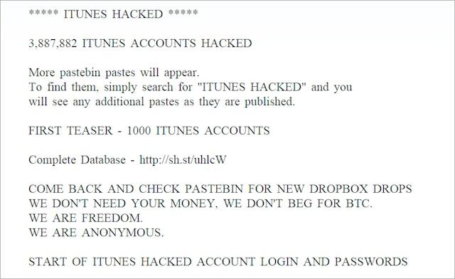 Хакеры взломали более 3 млн. аккаунтов iTunes?