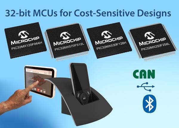 Представлены 32-разрядные микроконтроллеры Microchip серий PIC32MX1, PIC32MX2 и PIC32MX5 с поддержкой Bluetooth и CAN