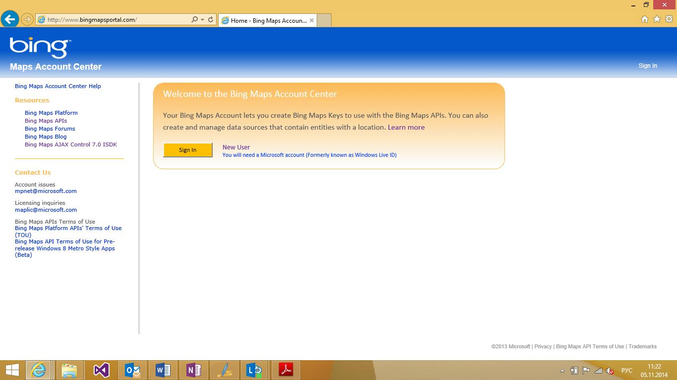 Как добавить карты Bing Maps в Windows-приложение на HTML и JavaScript. Часть 1 - 4