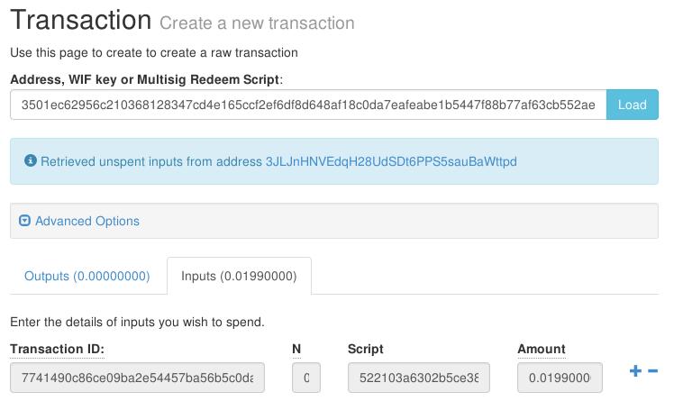 transaction 2 Redeem Script