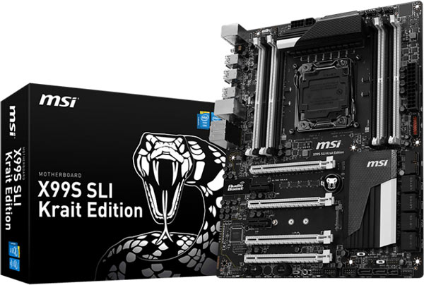 На плате MSI X99S SLI Krait Edition есть восемь слотов для памяти и четыре слота PCIe 3.0 x16