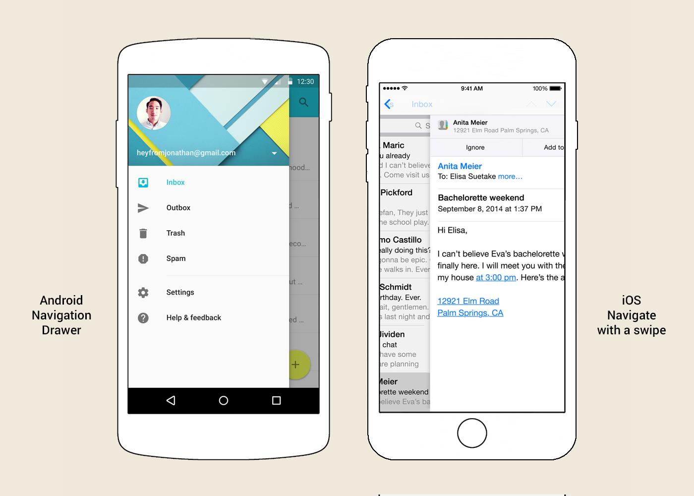 Боковое (главное) меню (Navigation Drawer) в Android и функция Navigare with a swipe («Навигация смахиванием») в iOS.