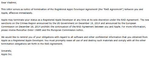 Apple полностью заблокировала Крым