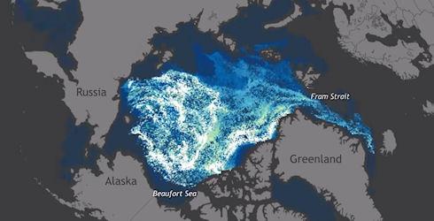 Ученые показали 30 летнее движение льдов Арктики в одноминутном видео