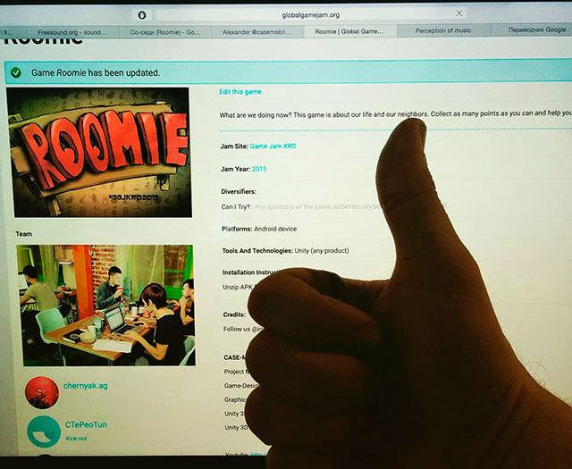 Страница Roomie на globalgamejam.org.