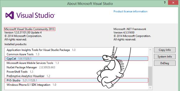 PVS-Studio и CppCat для Microsoft Visual Studio Community 2013 - 1