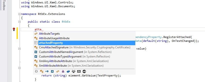 Расширение функциональности элементов управления Windows с помощью AttachedProperty - 1