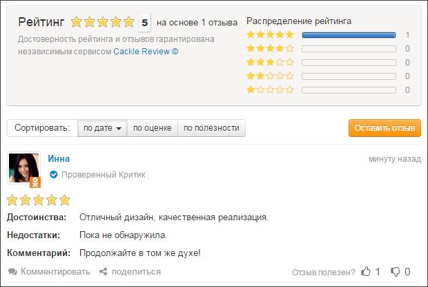 система отзывов для интернет-магазина