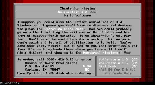 Wolfenstein 3D shareware screen