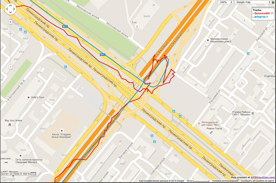 Qualcomm vs. MTK тестирование навигационных модулей - 8