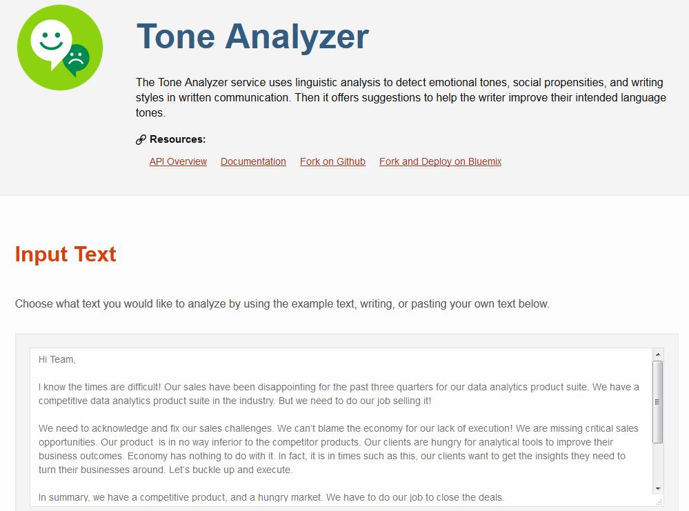 Tone Analyzer demo 1
