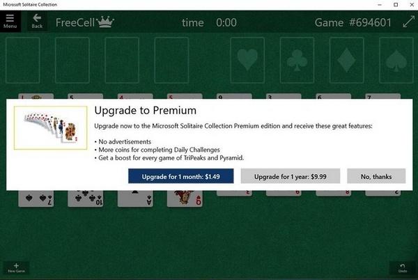 Теперь карточные пасьянсы Windows 10 назойливо демонстрируют пользователям новой операционной системы рекламу