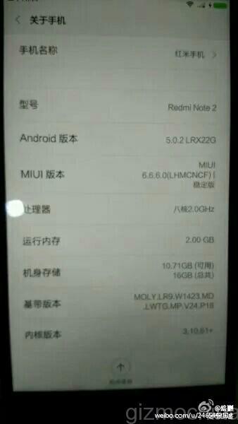 Xiaomi Redmi Note 2: спецификации