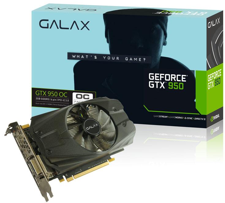 3D-карта Galax GeForce GTX 950 OC 2GB тоже разогнана в заводских условиях