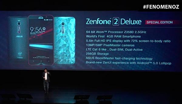 Asus ZenFone 2 Deluxe Special Edition располагает 256 ГБ встроенной флэш-памяти