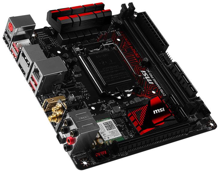 Оснащение платы MSI Z170I Gaming Pro AC включает видеовыходы шесть портов USB 3.0