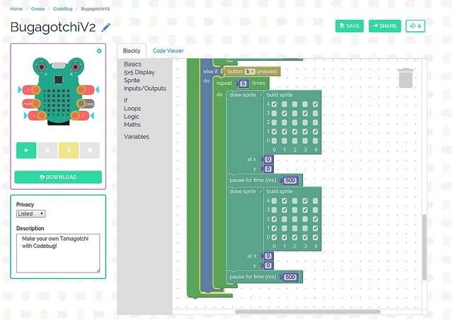 Создаем виртуального питомца из платы CodeBug - 2