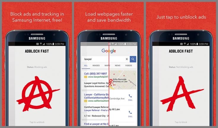 Samsung предлагает воспользоваться блокировщиком рекламы Adblock Fast