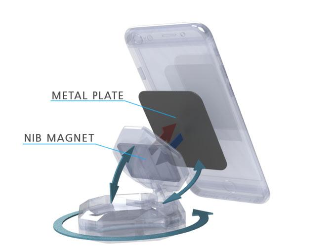 Смартфон удерживается на креплении Bluejay с помощью магнита