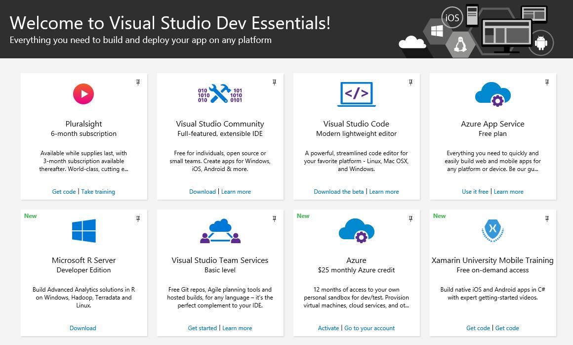 Бесплатный пакет возможностей для разработчика: Visual Studio Dev Essentials - 1